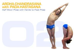 Ardha-Chandrasana with Pada-Hastasana